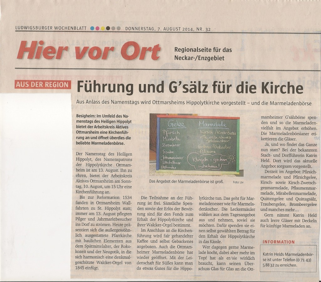 2014-08-07 Kirchenführung Hippolyttag Ludwigsburger Wochenblatt